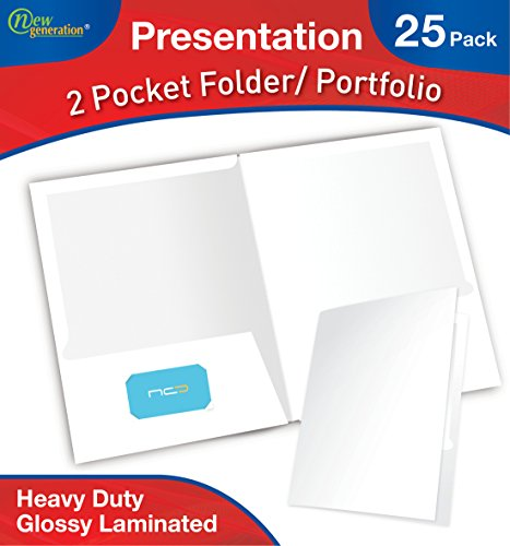 New Generation - White - 2 Pocket Folder, Durable Heavy Duty UV Glossy Laminated, Letter Size Business Presentation Portfolio with a die-Cut Business Card Holder, Bulk 25 Folders Pack (White) ()