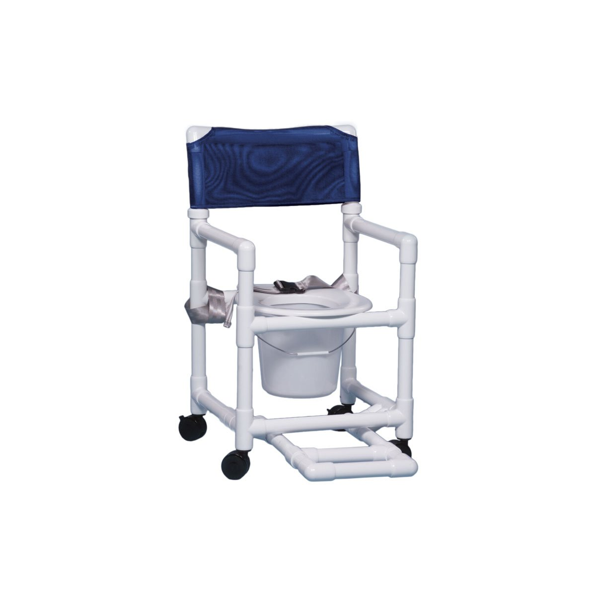 Shower Chair Commode with Footrest & Seat Belt 17'' Clearance- Dark Blue