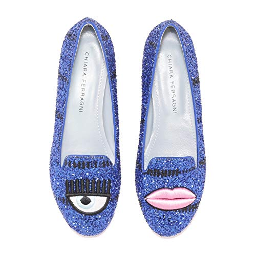 Femme Mocassins Cf1403blue Cuir Chiara Ferragni Bleu 5F818Bq