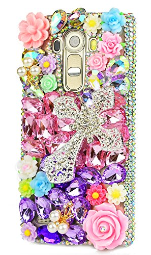 STENES LG G3 Case - [Luxurious Series] 3D Handmade Shiny Crystal Bling Case with Retro Bowknot Anti Dust Plug - Silver Cross Rose Flowers/Pink&Purple (Lg G3 Phone Case With Rhinestones)