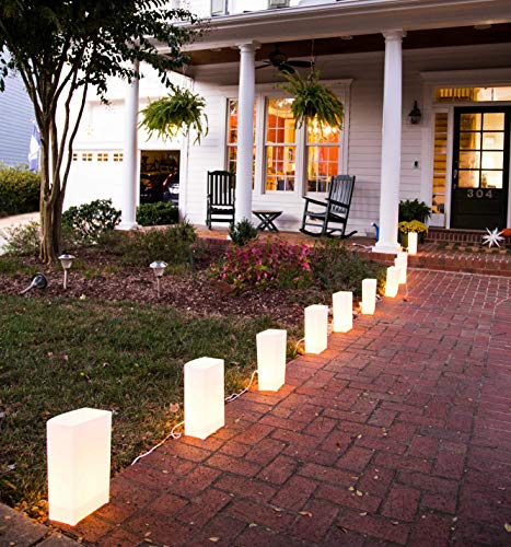 Elf Logic - Set of 10 Electric Luminary Bags (LED Lights) - Plug in and Weatherproof Vellum Christmas Pathway Lighting - Reusable Luminary Bags - Perfect Outdoor Holiday Lights