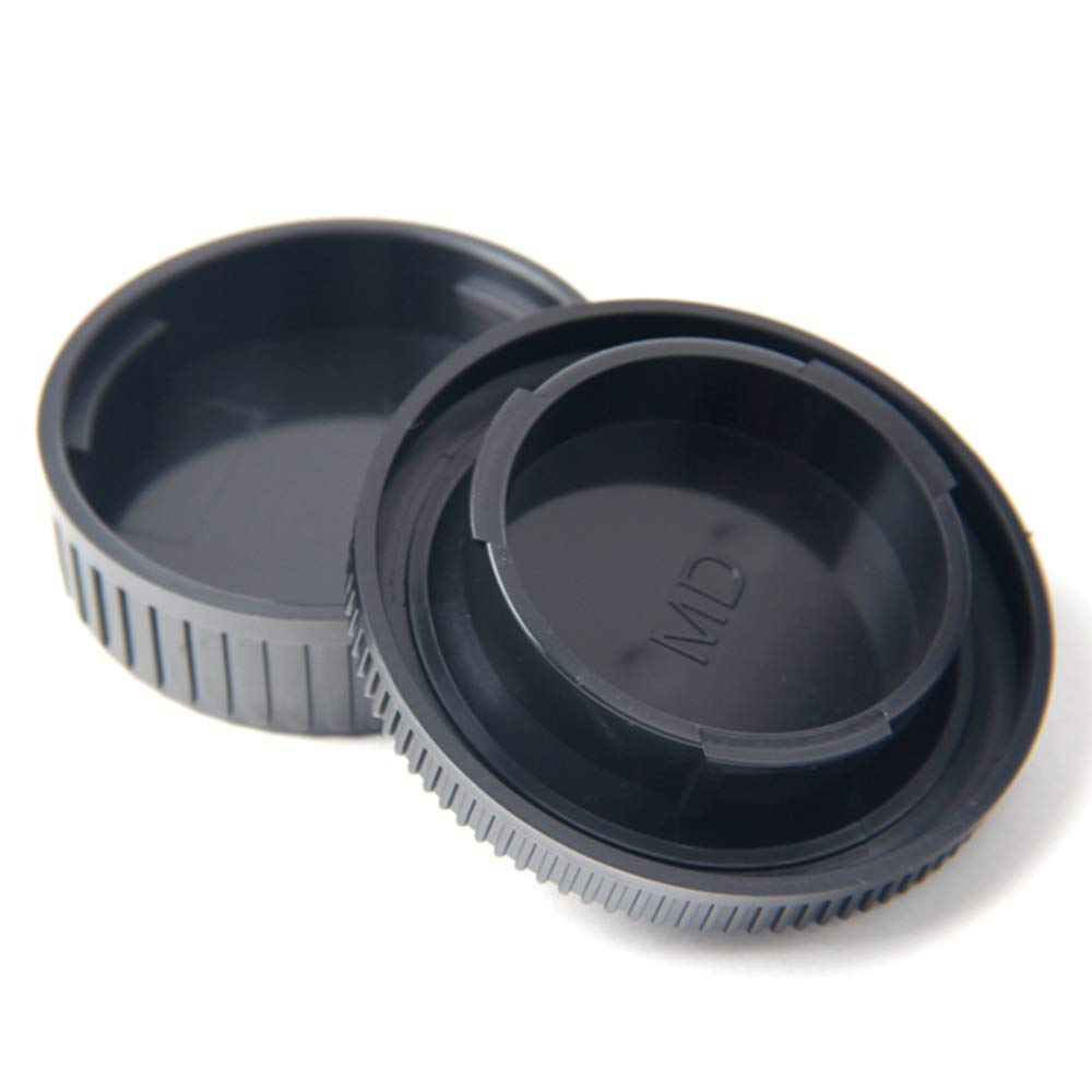 BAQI 1 Set di ricambio Copriobiettivo posteriore nero Coperchio del corpo della fotocamera per KONICA MINOLTA MD MC