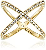 Michael Kors Pave X Gold Ring, Size 6