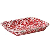 Enamelware Small Roasting Pan - Red Marble