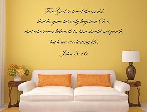 John 3:16 For God so Loved Only Son Bible Verse Wall Quote Vinyl Decal Sticker A