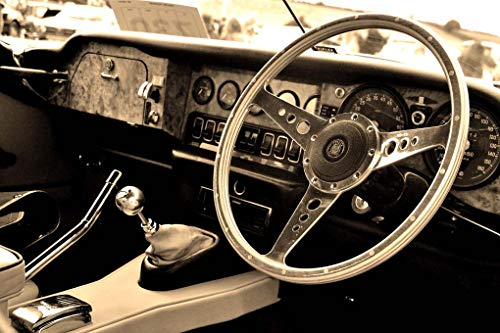 (Andrew Evans Photos Jaguar Photograph Classic Vintage Motor car Interior Dashboard and Steering Wheel Landscape Photo b/w Picture Art Print or Poster Photography Gift Souvenir (12