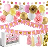 Warm Home Store Pink and Gold Baby Shower Decorations,It's a Girl Pennant Banner,balloon,Pom Poms Flowers,Paper lantern,Paper Garland for Baby Girl Shower Decorations