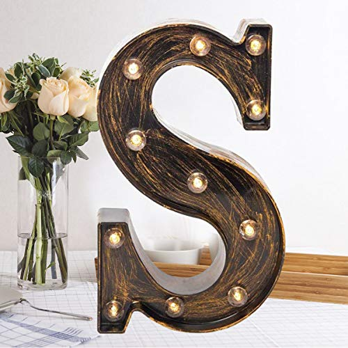 Oycbuzo Golden Black Led Marquee Letter - Industrial, Vintage Style Light Up Alphabet Letter Sign for Cafe Wedding Birthday Party Christmas Lamp Home Bar Initials Decor - S