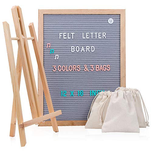 Changeable Felt Letter Board 12 x 16 - Gray Message Board with Letters, Changeable Felt Letterboard with 748 Letter, Number, Symbols, Oak Wooden Frame with Stand, Wall Mount, Three Storage Bag