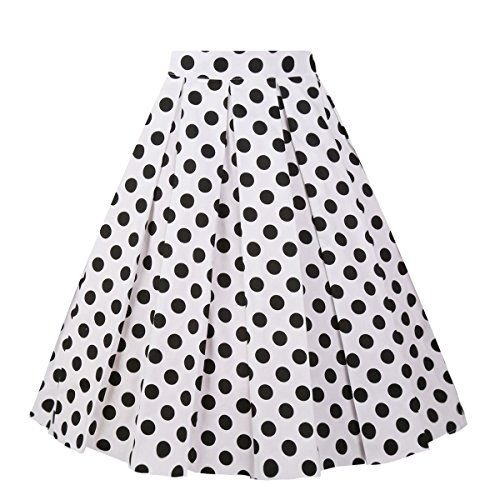 Girstunm Women's Pleated Vintage Skirt Floral Print A-line Midi Skirts with Pockets White-Black Dot L