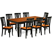 East West Furniture LGAV9-BCH-W 9 PC Kitchen Dinette Set with One Logan Dining Table & 8 Dining Chairs in black & Cherry Finish