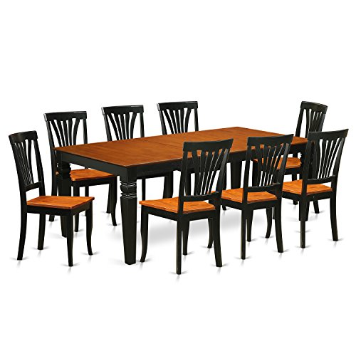 East West Furniture LGAV9-BCH-W 9 PC Kitchen dinette Set Table and 8 Dining Chairs in Black and Cherry