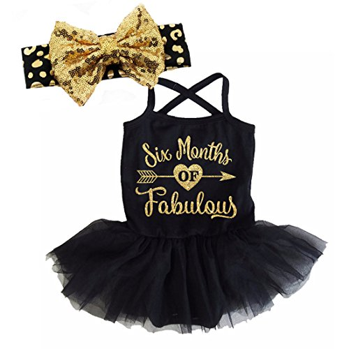 All That Glitters and Gold G&G - Black Gold Fabulous Half Birthday Tutu Dress Set For Baby Girls (6-12 (Half Bow)