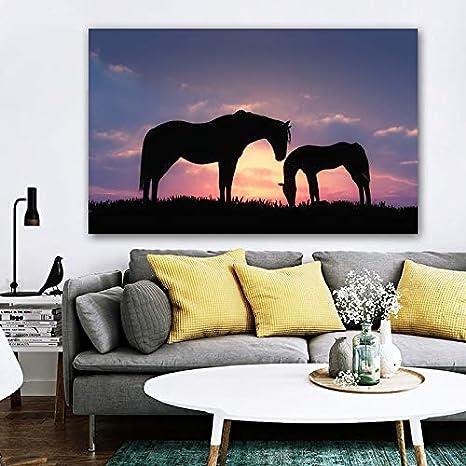 wtnhz Sin Marco Pintura Moderna de la Lona Carteles e Impresiones de Animales Cuadros Abstractos de la Pared del Caballo para la decoración del hogar escandinavo de la Sala de Estar