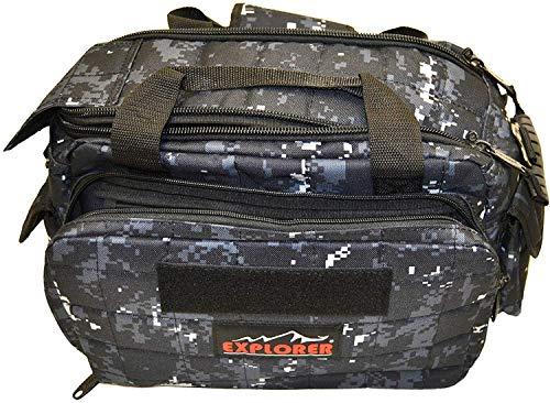 Explorer 8 Pistol Tactical Range Go Bag Assault Gear Hiking EDC Camera Bag MOLLE Modular Deployment Compact Utility Military Surplus Gear (Dark Camo Black Bag)