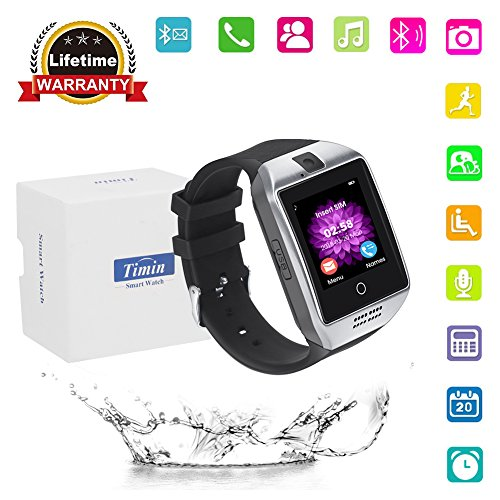 Smart Watch, Bluetooth Touch Screen Smartwatches Support SIM/TF Card Camera Pedometer Sleeping Monitor Facebook Whatsapp Sports Fitness Tracker For Android Phones Samsung Huawei Sony et (Silver black)