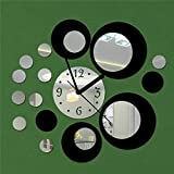 GK-Creative wall clock explosions, diy mirror circle combination decorated Jong-acrylic 50X55CM, Black & Silver