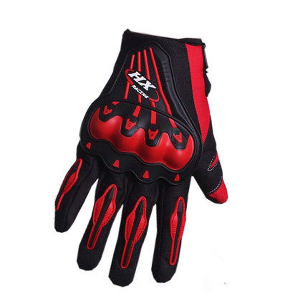 AINIYF Full Finger Motorcycle Gloves | Motocross Anti-skid Slip Breathable Cycling Racing Locomotive Touchscreen Outdoor Gloves Male Summer Knight Equipment (Color : Red, Size : L)