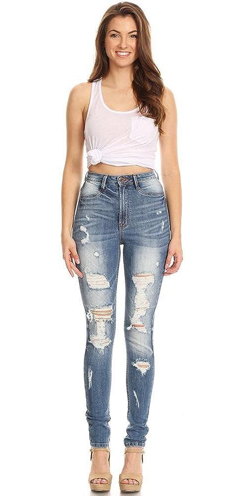 e7922468b1ba5 Monotiques Women s Ripped Distressed Skinny Denim Jeans at Amazon Women s  Jeans store