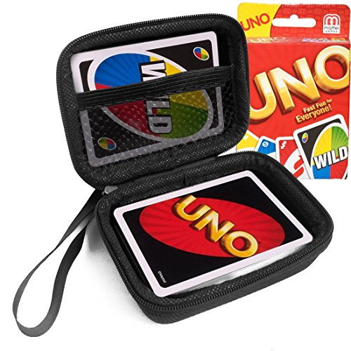 FitSand (TM Travel Carry Zipper EVA Hard Case for UNO Family Card Game - Black Box, Blacker Box, Best Protection for Mattel 42003 Original UNO Family Cards
