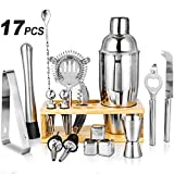 17 Piece Cocktail Shaker Set Bartender Kit with Stand,Stainless Steel bar Tool Set Perfect for Drink Mixing Experience