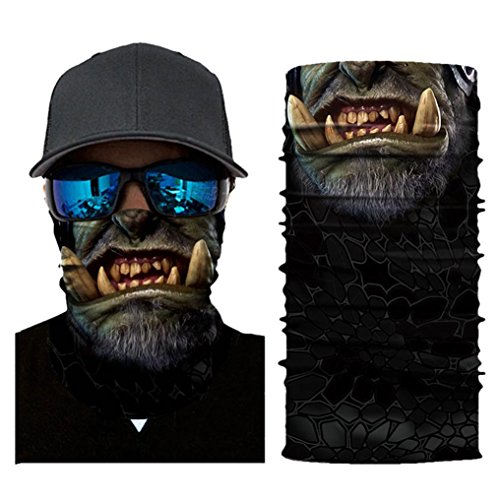 Hot Sale! Hongxin 3D Seamless Magic Headband Clown Joker Skull Vendetta Neck Warmer Gaiter Half Face Mask Headwear Bandana Head Scarf Summer Men Clearance (A) -