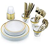 Bobfaw Creations Gold Plastic Plates Dinnerware Set - 150 Piece Disposable Silverware with 25 each (Dinner & Salad Plates, Spoons, Forks, Knives, Cups)
