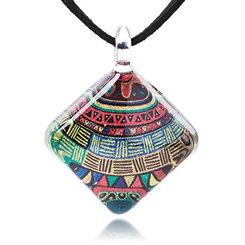 Hand Blown Glass Jewelry Colorful Glittery Tribal Art Square Pendant Necklace 17-19 inches