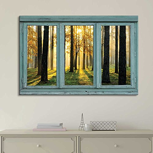 Vintage Teal Window Looking Out Into the Forest and the Sun Peeking Through the Trees
