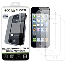 iPhone 5, 5C, 5S Premium Tempered Glass Screen Protector – 3 x Real Glass Screen Protectors with Oleophobic Coating Compatible with Apple iPhone 5, 5C and 5S – Anti Fingerprint and Anti Scratch – Perfect Clarity and Touchscreen Functionality – 1 ECO-FUSED Microfiber Cleaning Cloth Included(3 pack)