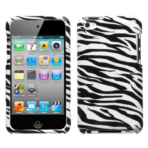 Snap-On Protector Hard Case for iPod Touch 4th Generation / 4th Gen - Zebra Print (Print Ipod Cases 4 Zebra)