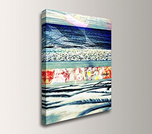 Coastal Abstract Modern Canvas Wall Art - ''Boardwalk Blue'' by The Modern Art Shop