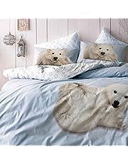 TAC 100% bawełna zwierzę niedźwiedź nadruk niebieski pełny podwójny królowa pościel kołdra / poszewka na kołdrę zestaw 4 sztuk