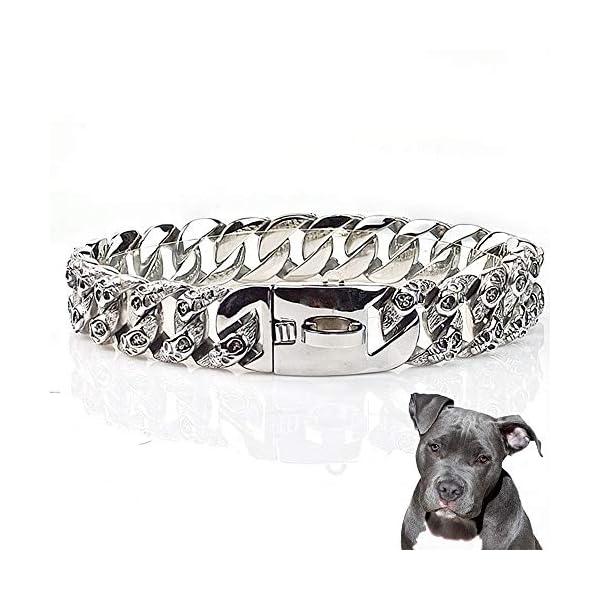 UTOPIAY Skull Dog Choke Collar, 32mm Dog Chain Collar, Stainless Steel Hip Hop 316L Choker Cuban Curb Necklace for Bully Pitbull, Mastiff, Big Breeds,25cm 1