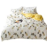 Cotton Pineapple Print Duvet Cover Set Yellow Geometric Pattern Luxury Reversible Bedding Comforter Cover Set Queen Size Kids Adults Girls Boys Duvet Cover Set Great Gift for Christmas New Year