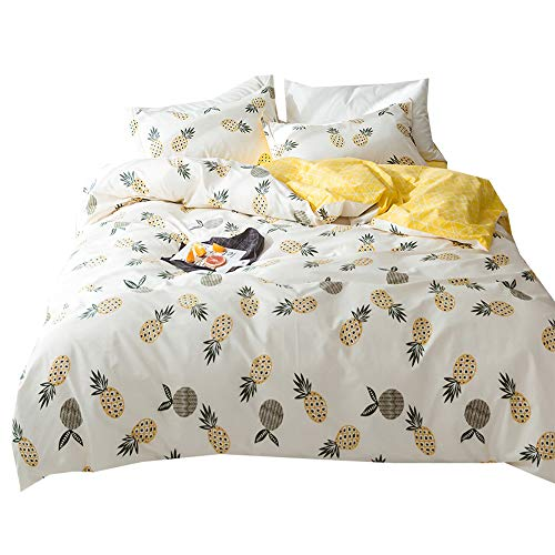 Cotton Pineapple Print Kids Duvet Cover Set Twin Geometric Reversible Bedding Set 3 Piece Boys Girls Duvet Cover Set with 2 Pillowcases Modern Children Twin Duvet Cover Set for Teens Adults for $<!--$49.99-->