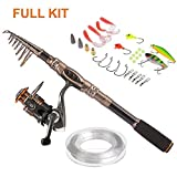 Plusinno TM Spin Spinning Rod and Reel Combos Carbon Telescopic Fishing Rod with Reel Combo Sea Saltwater Freshwater Kit Fishing Rod Kit
