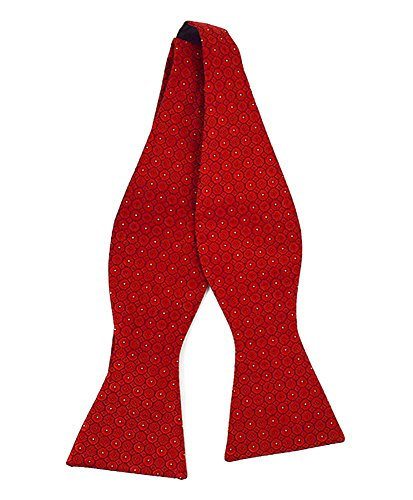 Red Freestyle Bow Tie - Men's Repeater Silk Woven Freestyle Bow Tie (Red)