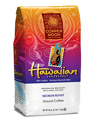 - Copper Moon Ground Hawaiian Hazelnut Coffee, 2.5 Pound, nutty finish, silky smooth