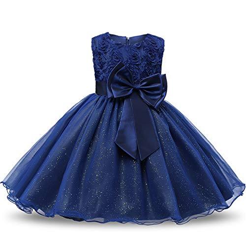(Flower Sequins Princess Toddler Girl Dress Summer 2018 Christmas Party Tutu Tulle Dresses for Children 2 3 4 5 Birthday,Deep)