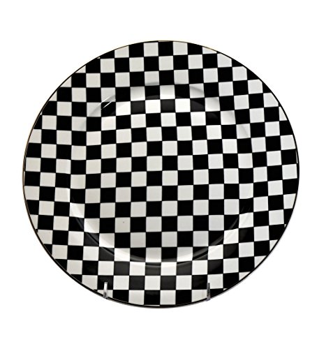 6 piece China Dinner Plates Set Black & White Checkered Flag Pattern