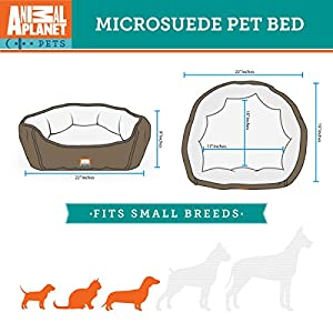 "Animal Planet Micro Suede Round Dog/Cat Bed, Comfortable Stylish Pet Bedding, Premium Plush Fiber Fill, For Small and Toy Breed Dogs and Cats (17""x15""x5"" Interior) BROWN"