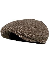 Men's Classic Herringbone Tweed Wool Blend Newsboy Ivy Hat