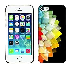 Cubierta de la caja de protección la piel dura para el Apple iPhone 5 / 5S - flower black minimalist polygon