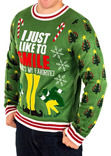 festified mens elf smilings my favorite ugly christmas sweater in green at amazon mens clothing store - Ugly Christmas Sweater Elf