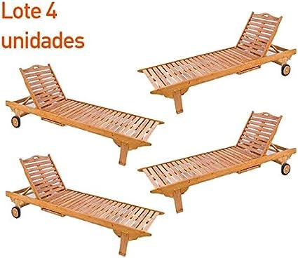 Pack 4 tumbonas teca para exterior con posiciones - Portes Gratis: Amazon.es: Jardín