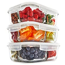 3 Compartment Glass Meal Prep Containers (3 Pack) - Food Storage Containers with Vented Lids | Glass Tupperware Set | Leakproof Food Prep Containers | Portion Control Food Containers | Bento Lunch Box