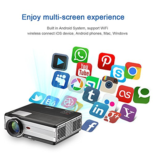 Android WiFi Projector 3500 Lumen- Support 1080P Full HD WiFi Airplay Miracast- LCD Multimedia LED Home Theater Movie Video Game- HDMI USB SD VGA Built-in Speaker by EUG (Image #6)