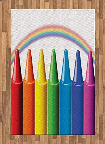 (Crayon Area Rugs 4'x5.7'ft,Digital Illustration of Colorful Painting Elements and Blurry Rainbow Nursery Themed Non Skid Floor Mat Carpet Entry Throw Runners Rug,Multicolor)