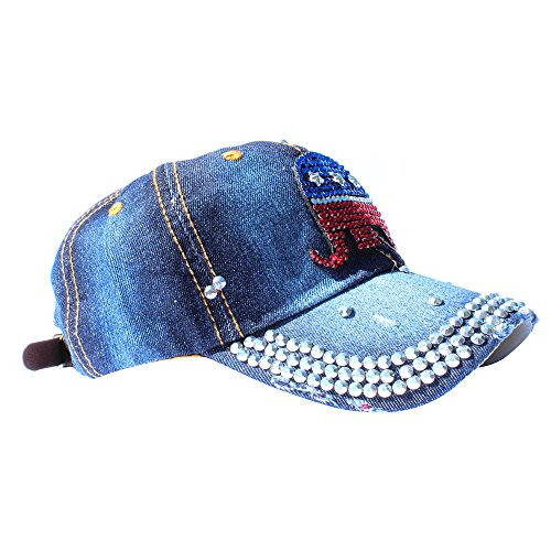 The Republican Elephant (EchoMerx Republican Elephant Rhinestone Baseball Cap, Denim Dark Blue)